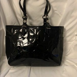 Coach small tote- black patent leather
